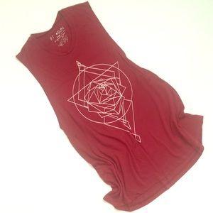 Tunic length sacred geometry boho tank top